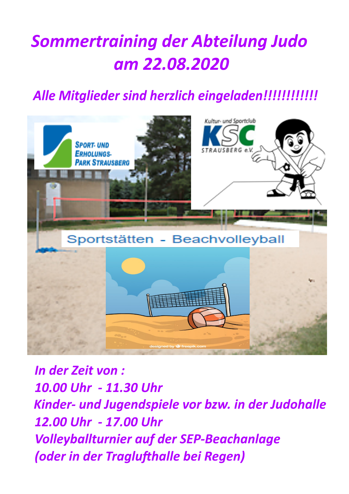 Flyer Sommertraining KSC Judo 2020